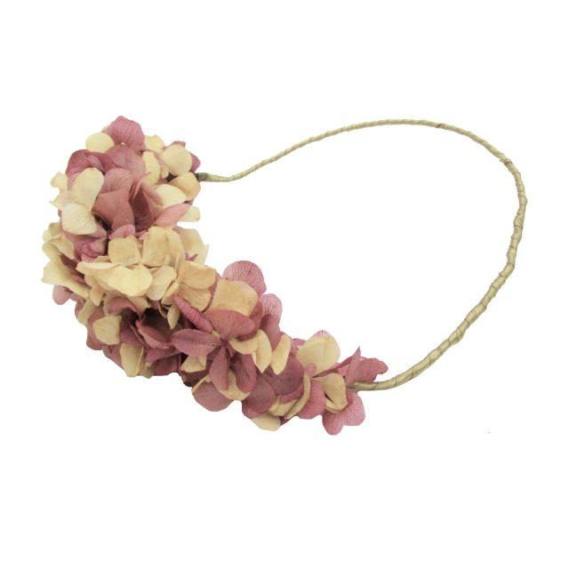 Corona de Flores Reversible Rosa y Beige