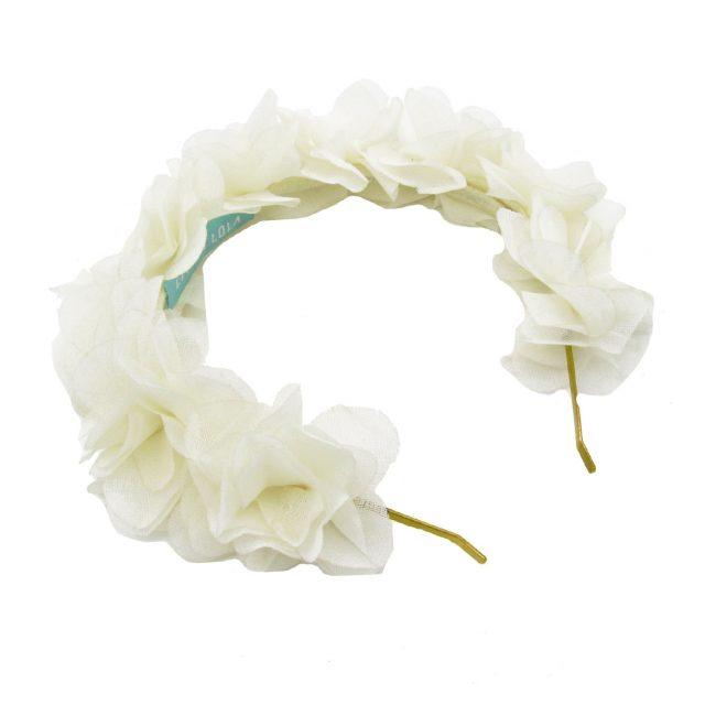 Diadema de Flores de Tela Blanco Roto