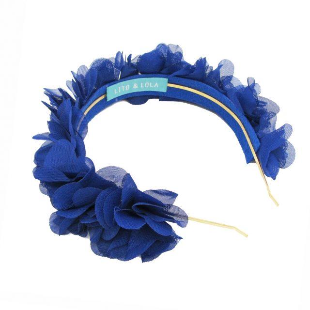 Diadema de Flores de Tela Azul Noche