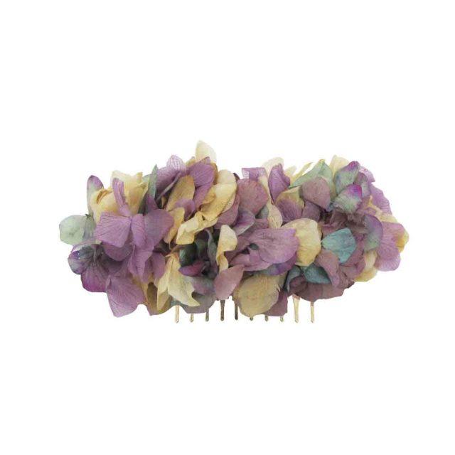 Peineta de Flores Malva y Verde
