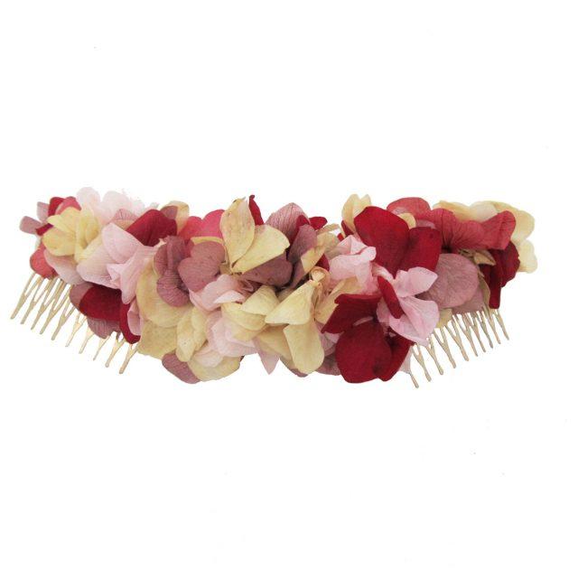 Peineta Doble de Flores Rosa y Rojo