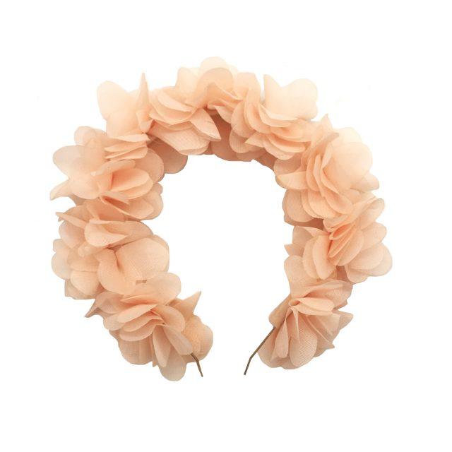 Diadema de Flores de Tela Rosa Pastel
