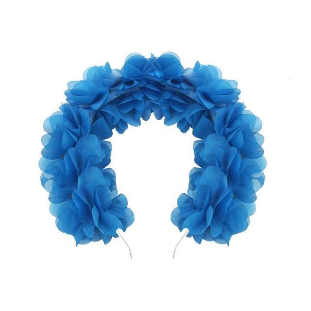 Diadema de Flores de Tela Azul