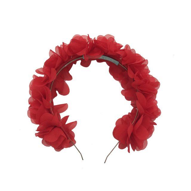 Diadema de Flores de Tela Roja