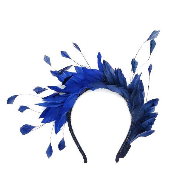 Diadema de Plumas Bicolor Azules