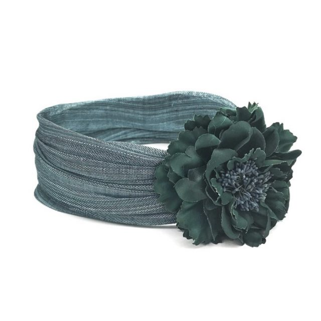 Turbante Verde con Flor