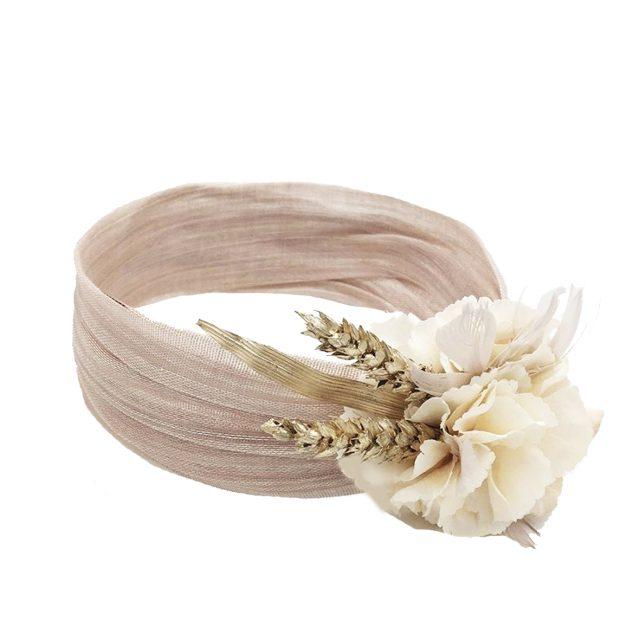 Turbante Rosa con Flor y Espiga