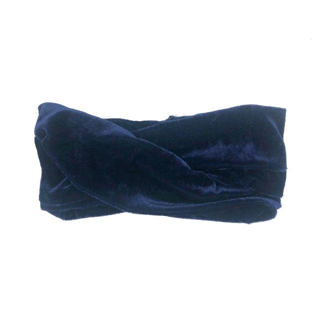 Turbante con Nudo de Terciopelo Azul