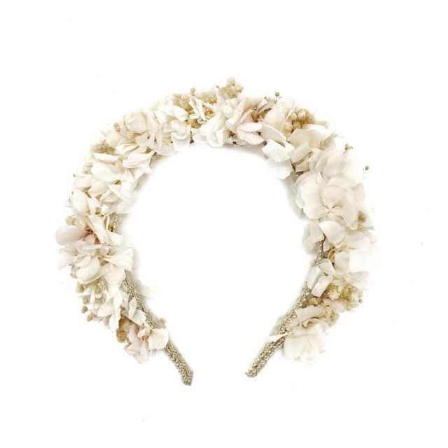Diadema de Flores Blanco Roto