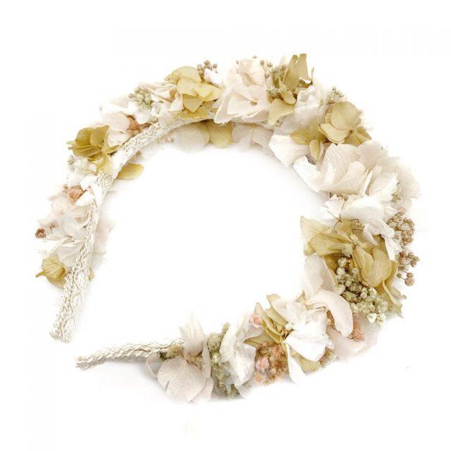 Diadema de Flores Blanco y Nude