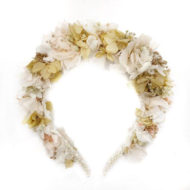 Diadema de Flores Blanco y Beige