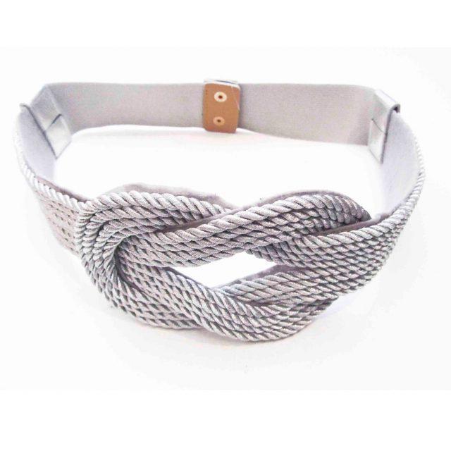 Cinturón con Nudo de Cordón Plateado