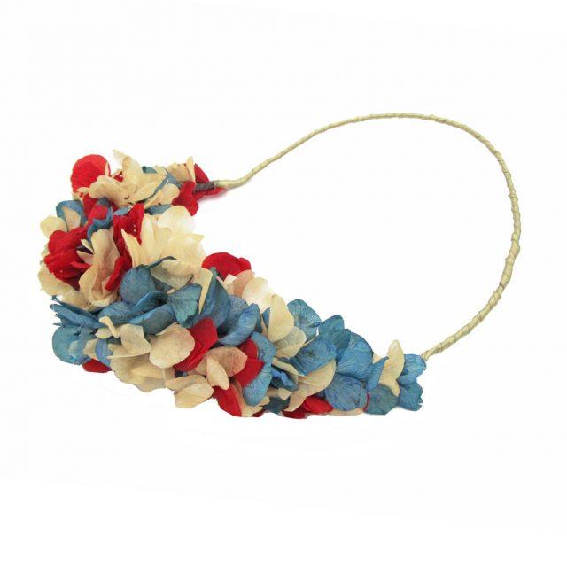 Corona de Flores Reversible Azul y Rojo