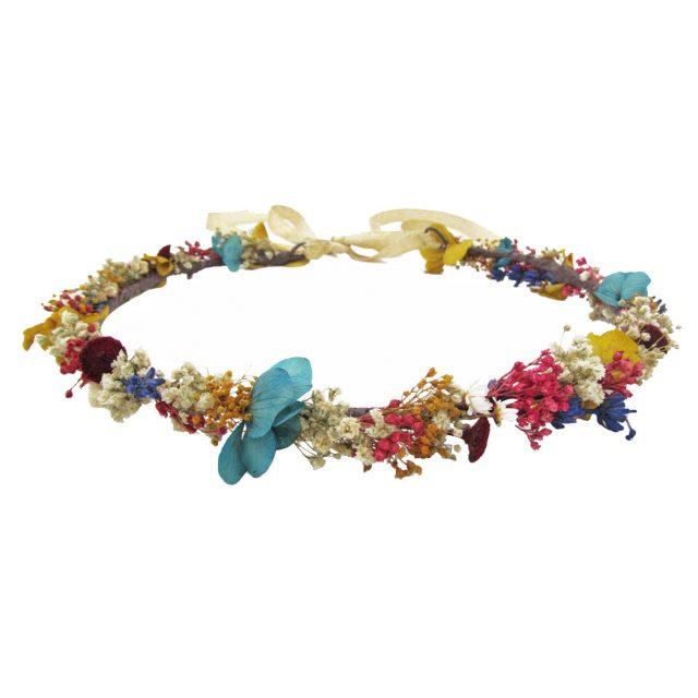 Corona de Flores con Lazo Multicolor