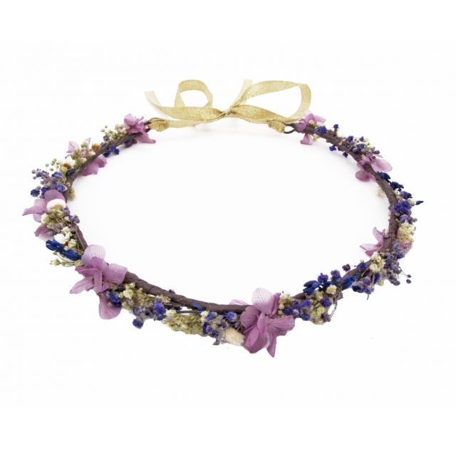 Corona de Flores con Lazo Malvas