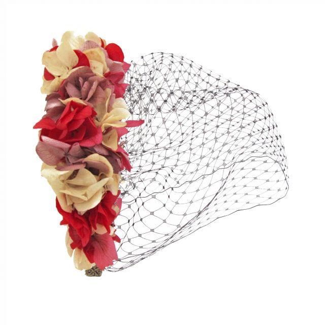 Diadema de Flores Rosas y Rojo con Velo