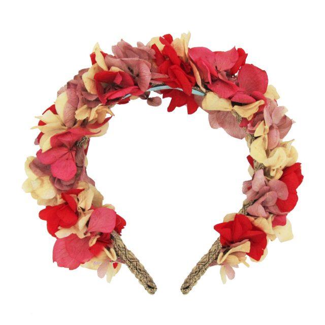 Diadema de Flores Rosas y Rojo