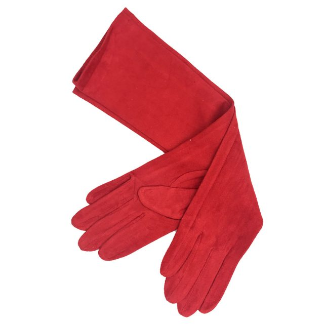Guantes Largos de Antelina Rojo