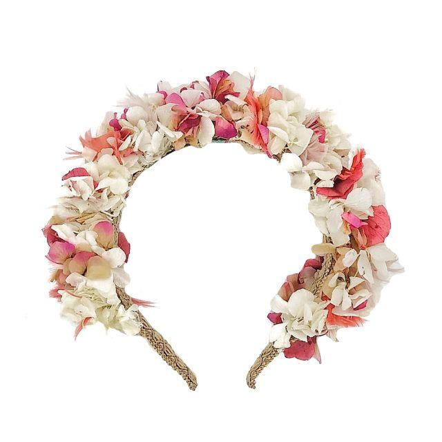 Diadema de Flores y Plumas Blanco y Rosa