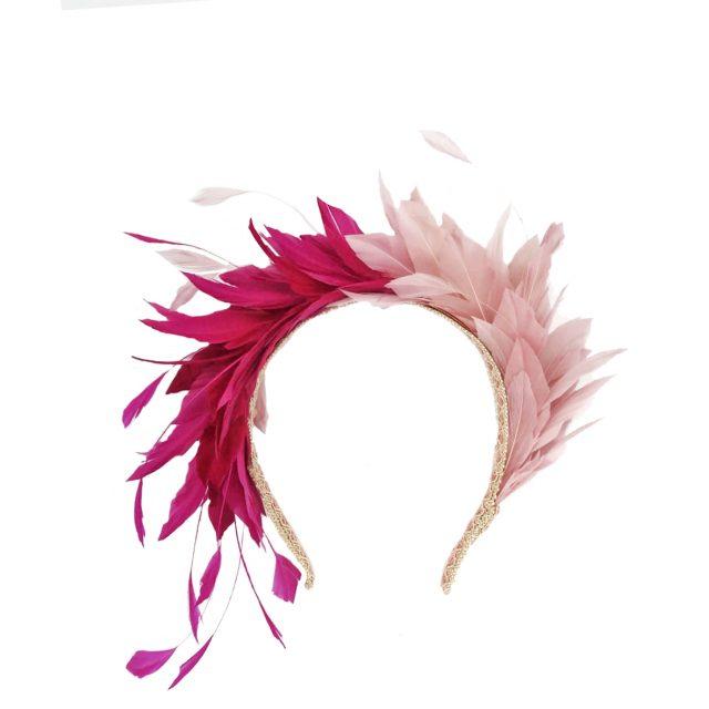 Diadema de Plumas Bicolor Rosas
