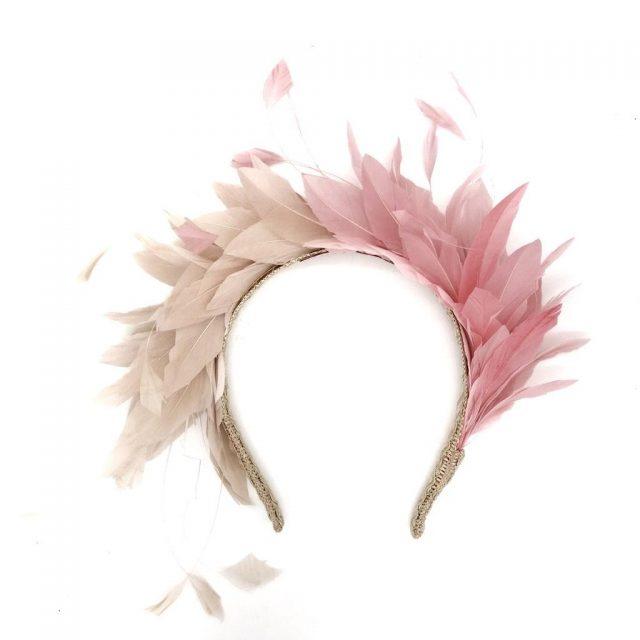 Diadema de Plumas Bicolor Rosa y Nude