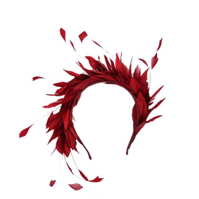 Diadema de Plumas Bicolor Rojos