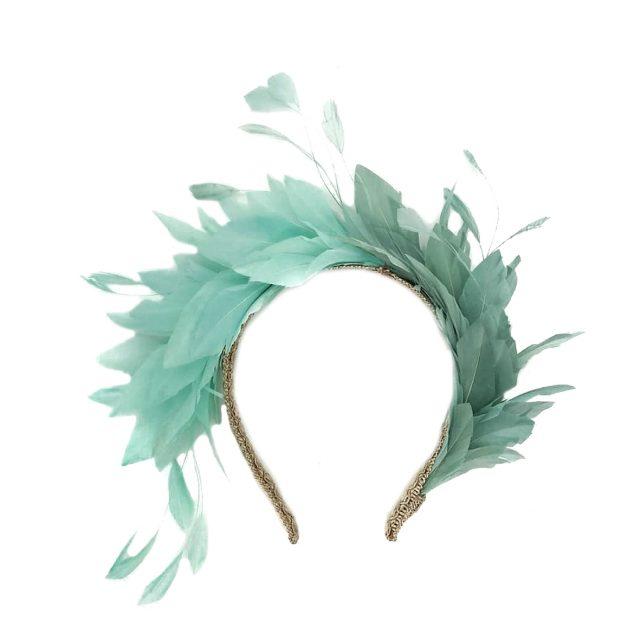 Diadema de Plumas Bicolor Verdes