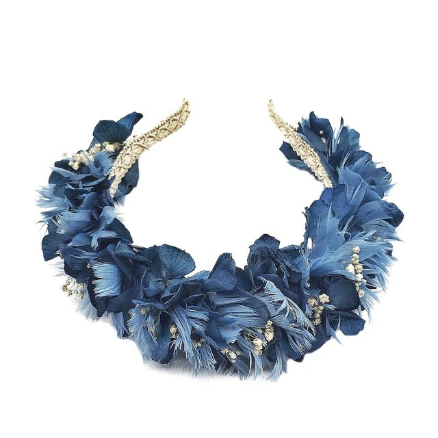Diadema de Flores y Plumas Azul