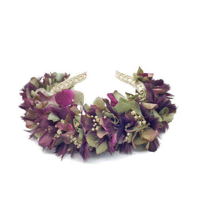 Diadema de Flores y Plumas Morado y Verde