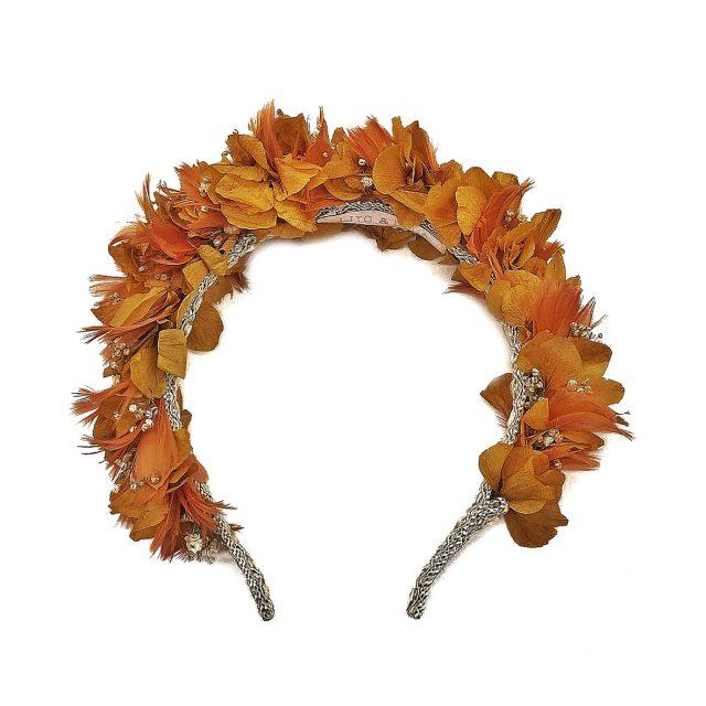 Diadema de Flores y Plumas Naranjas