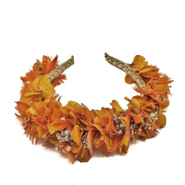 Diadema de Flores y Plumas Naranja