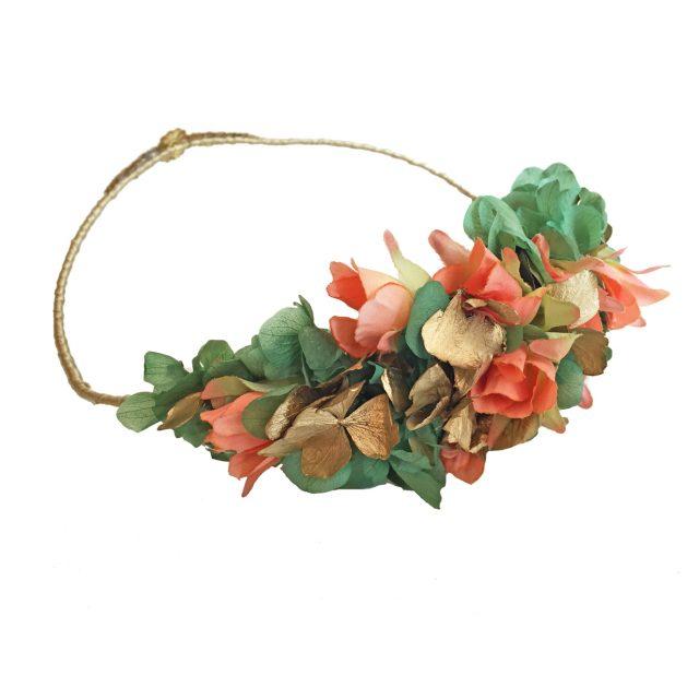 Corona de Flores Reversible Coral y Verde