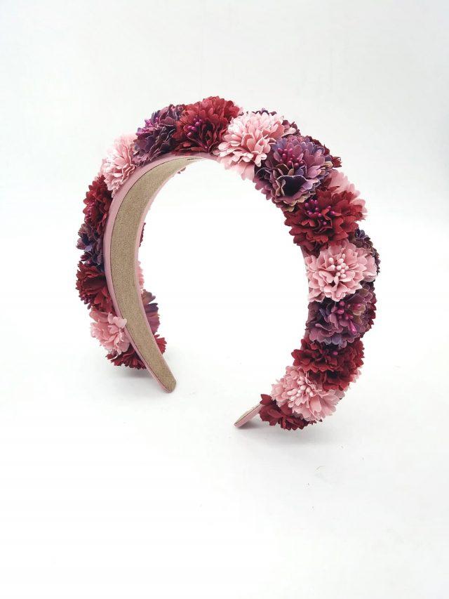 Diadema de flores Tulum Rosas y Granates
