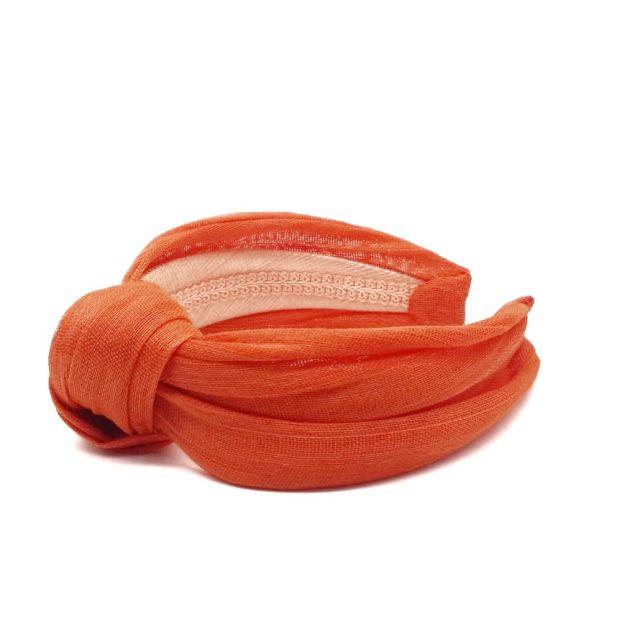 Diadema con Nudo de Sinamay de Algodón Naranja