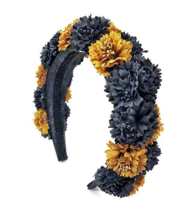 Diadema de flores Tulum Ocres y Negro