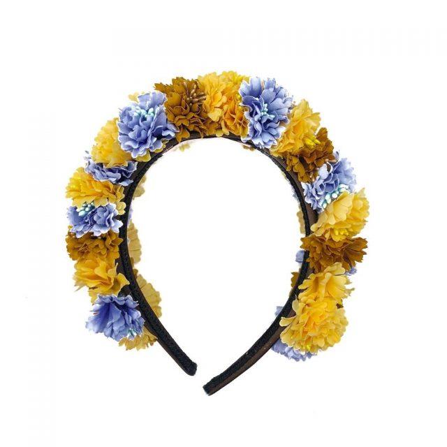Diadema de flores Tulum Ocres y Azules