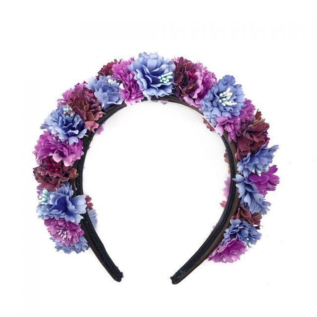 Diadema de flores Tulum Rosas y Azules