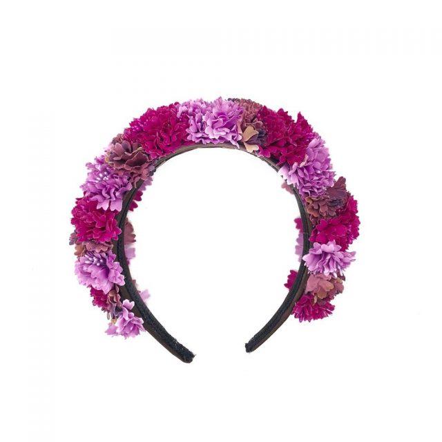Diadema de flores Tulum Malvas y Morados