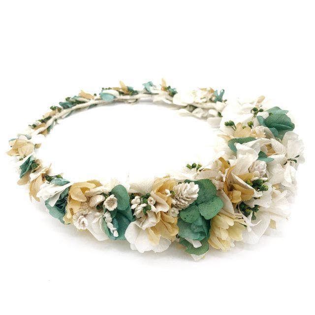 Corona de Flores Reversible Blanco y Verde