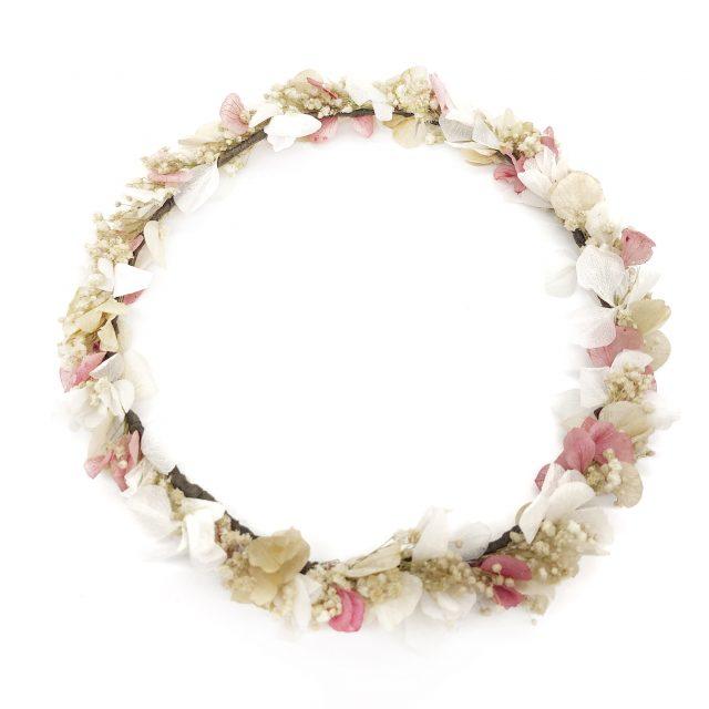 Corona de Flores Rosa y Beige