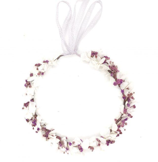 Corona de Flores con Lazo Malva y Blanco