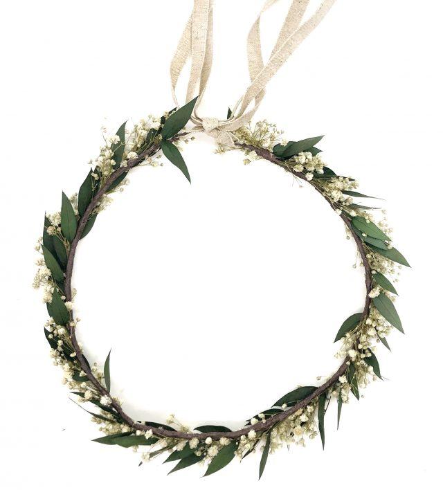 Corona de Flores con Lazo Paniculata Blanca y Olivo