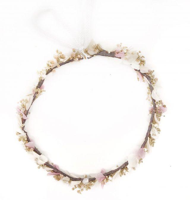 Corona de Flores con Lazo Rosa Palo y Beige