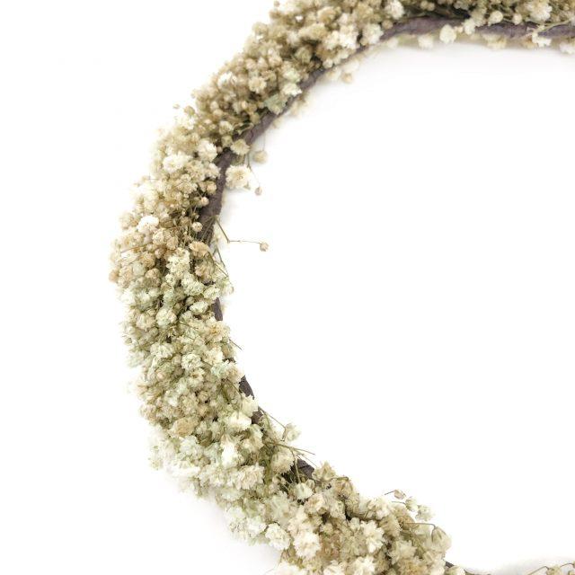 Corona de Flores con Lazo Paniculata Blanca