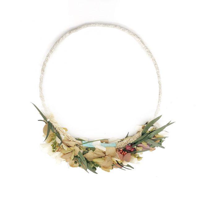 Corona de Flores Reversible Beige y Verde