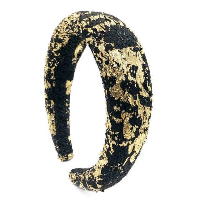 Diadema de Espuma Negra con detalles Dorados
