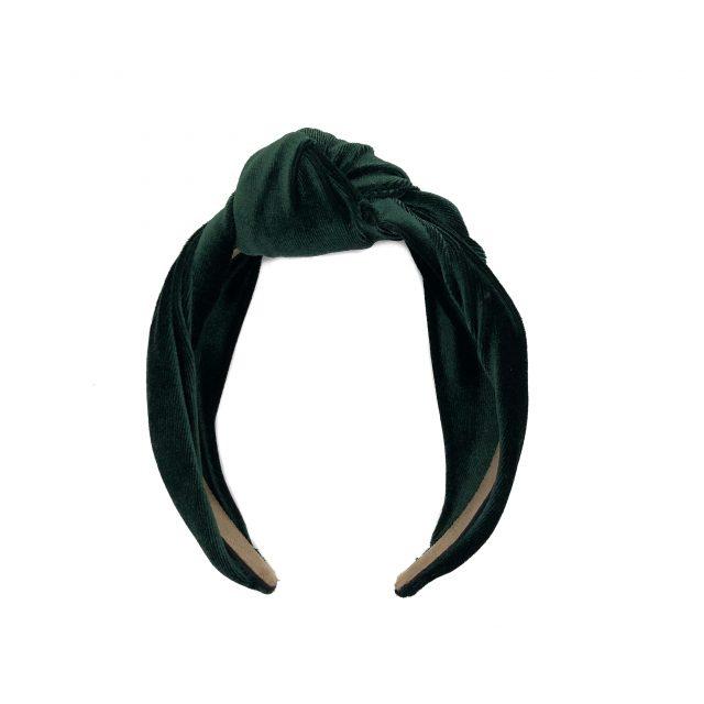 Diadema con Nudo de Terciopelo Verde