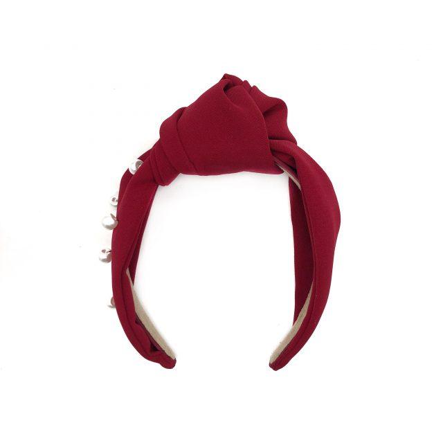 Diadema con Nudo de Crepé Rojo con Perlas