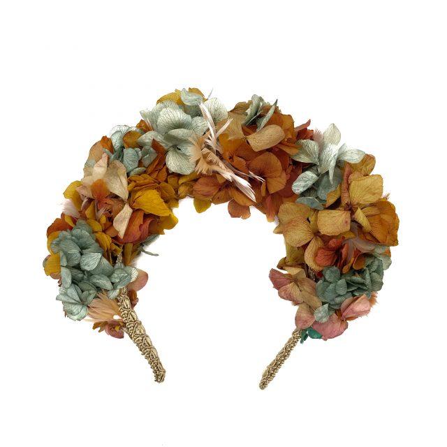 Diadema de Flores y Plumas Naranja y Verde