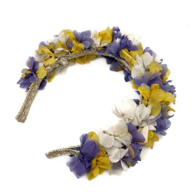 Diadema de Flores Morado y Amarillo